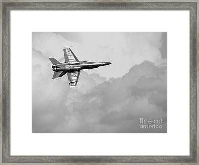 Blue Angels In The Cloud . Black And White Photograph Framed Print by Wingsdomain Art and Photography