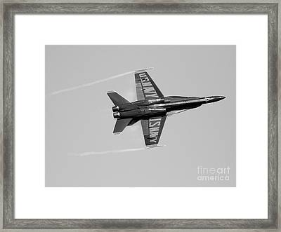 Blue Angels With Wing Vapor . Black And White Photo Framed Print by Wingsdomain Art and Photography