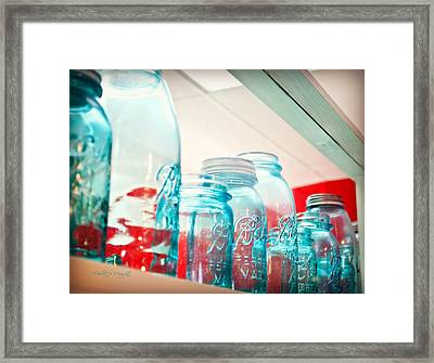 Blue Ball Canning Jars Framed Print by Paulette B Wright