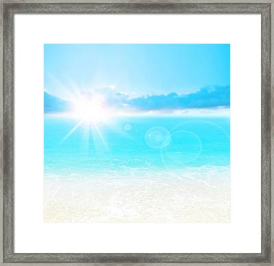 Blue Beach Background Framed Print by Anna Om