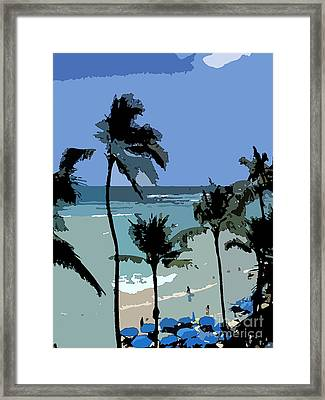 Blue Beach Umbrellas Framed Print by Karen Nicholson