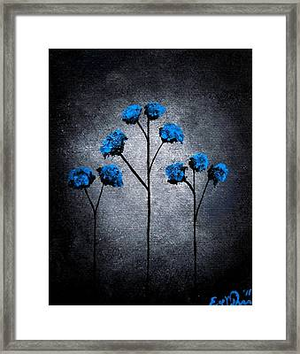 Framed Print featuring the painting Blue Beauties by Oddball Art Co by Lizzy Love