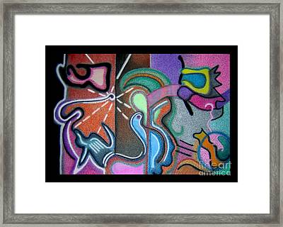 Blue Bird With Abstract Designs Framed Print by Christine Perry