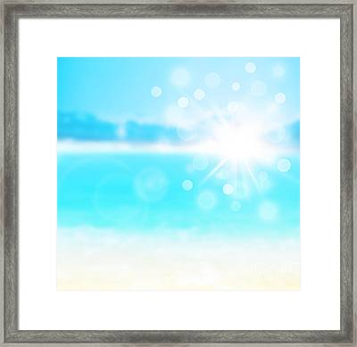 Blue Blur Natural Abstract Background  Framed Print by Anna Om