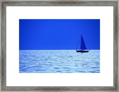 Blue Boat Framed Print by Coby Cooper