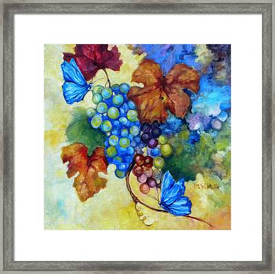 Blue Butterflies And Grapevine  Framed Print by Peggy Wilson