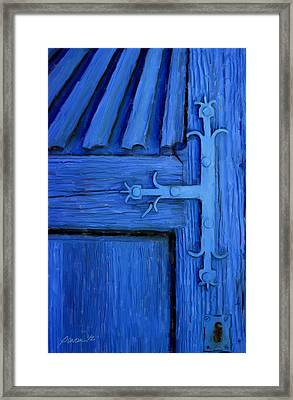 Blue Church Door Framed Print by Jim Pavelle