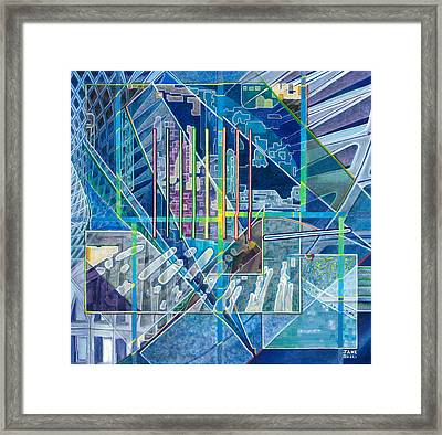 Framed Print featuring the painting Blue City Day by Jane Bucci
