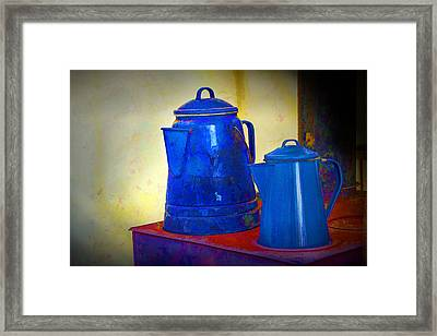 Blue Coffee Pots On Red Stovetop Framed Print by Randall Nyhof