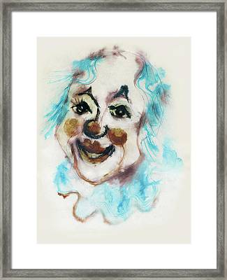 Blue Collar Clown Face With Red Nose And Lips Raised Eyebrows Smile   Framed Print by Rachel Hershkovitz
