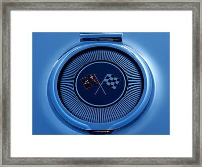 Blue Corvette Badge Framed Print by Douglas Pittman