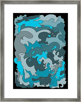 Blue Creatures Framed Print by Barbara Marcus