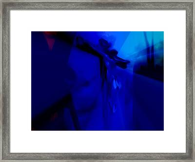 Blue Crucifixion Framed Print by Susan  Solak