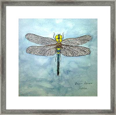 Framed Print featuring the painting Blue Darner by Alethea McKee