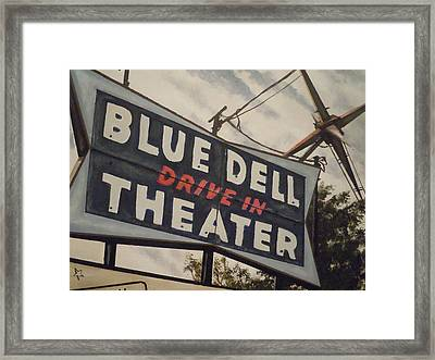 Blue Dell Drive In Theater Framed Print by James Guentner