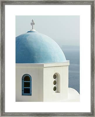 Blue Domed Greek Church Framed Print by Jennifer Squires