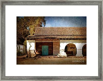 Blue Door At San Juan Bautista Framed Print by Laura Iverson