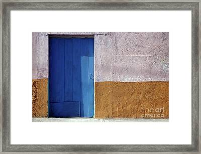 Framed Print featuring the photograph Blue Door Cozumel Mexico by John  Mitchell