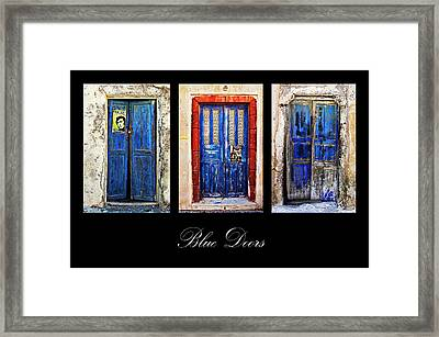Blue Doors Of Santorini Framed Print by Meirion Matthias