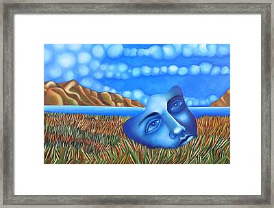 Blue Dream Face On Lake Framed Print by Angela Waye