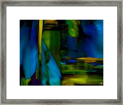 Blue Feather Reflections Framed Print by Mathilde Vhargon