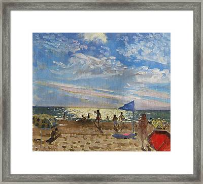 Blue Flag And Red Sun Shade Framed Print