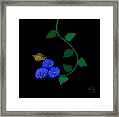 Blue Flower Butterfly Framed Print by Rand Herron