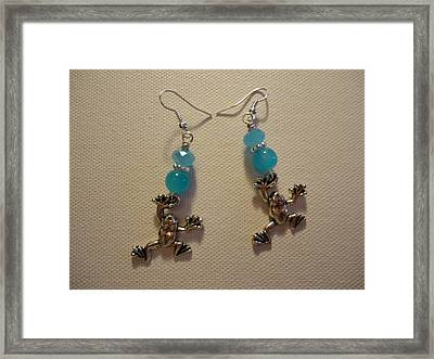 Blue Frog Earrings Framed Print by Jenna Green