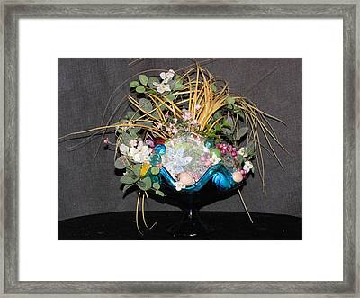 Blue Glass Arrangement Framed Print by HollyWood Creation By linda zanini