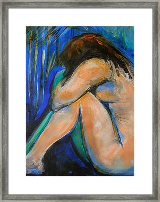 Framed Print featuring the painting Blue Green by Mary Schiros