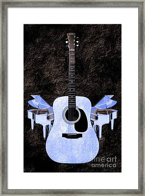 Blue Guitar Butterfly Framed Print by Andee Design