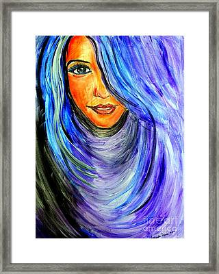 Framed Print featuring the painting Blue Hair by Amanda Dinan
