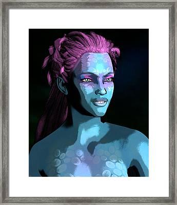 Framed Print featuring the digital art Blue Halo by Maynard Ellis