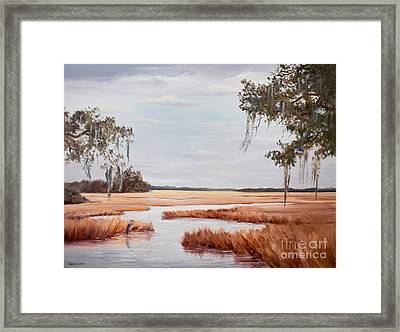 Blue Heron In Midwinter Framed Print