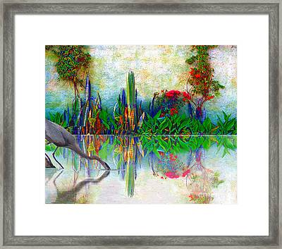 Blue Heron In My Mexican Garden Framed Print