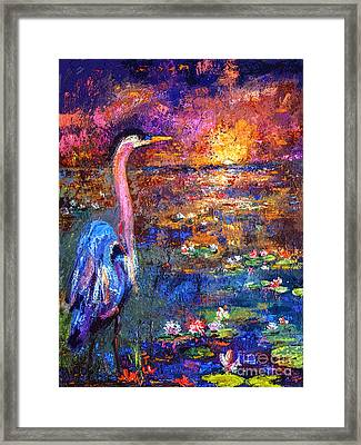 Blue Heron Sunset Framed Print by Ginette Callaway