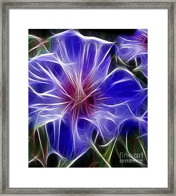 Blue Hibiscus Fractal Panel 3 Framed Print