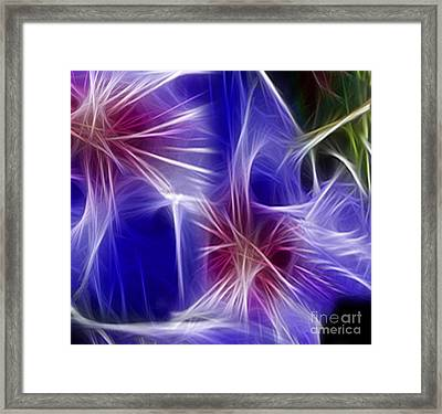 Blue Hibiscus Fractal Panel 4 Framed Print by Peter Piatt