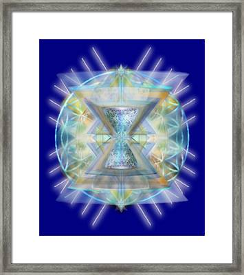 Blue High-starred Chalices On Flower Of Life Framed Print