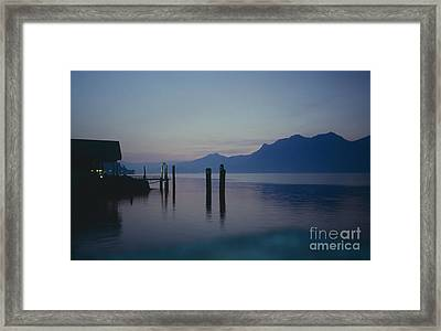 Blue Hour At Dawn On Lago Maggiore Framed Print by Heiko Koehrer-Wagner