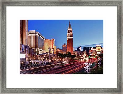 Blue Hour In Las Vegas Framed Print by Bert Kaufmann Photography