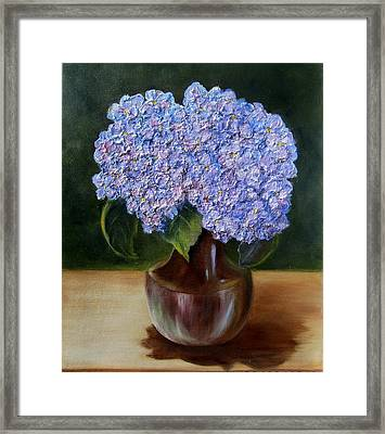 Framed Print featuring the painting Blue Hydrangea  by Susan Dehlinger