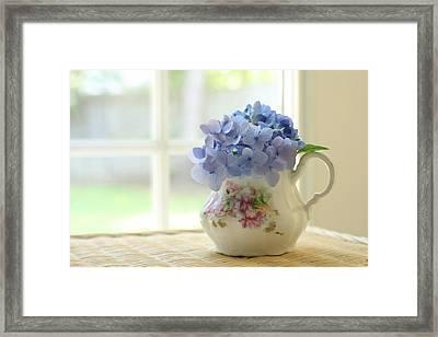 Blue Hydrangeas In Antique Floral Pitcher Framed Print by Judy Davidson
