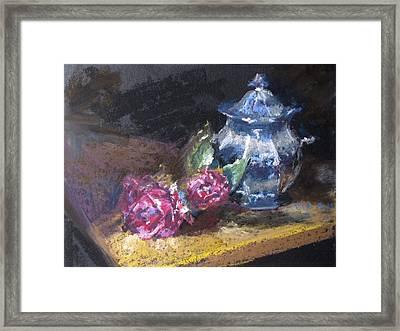 Blue Jug With Roses Framed Print