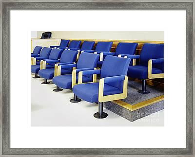 Blue Jury Seats Framed Print by Skip Nall