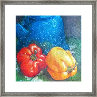 Blue Kettle With Peppers Framed Print by Susan Herbst