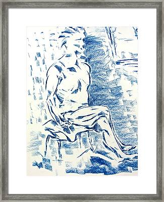Framed Print featuring the pastel Blue Man By Window by Brian Sereda
