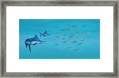 Framed Print featuring the digital art Blue Marlin And Yellowfin Tuna by Walter Colvin