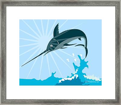 Blue Marlin Fish Jumping Retro Framed Print by Aloysius Patrimonio