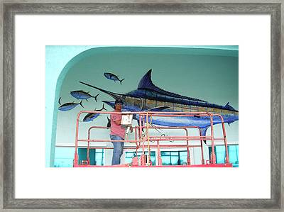 Blue Marlin Motors Mural Framed Print by Carey Chen